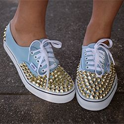 Studded Sneakers DIY! A cute, easy, and cheap way to give a fashionable makeover to your sneakers. (by Honestly WTF)
