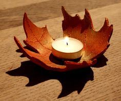 """Autumn Leaf Bowls - the clay is curled over a bowl to dry - from Lightly Enchanted ("""",)"""