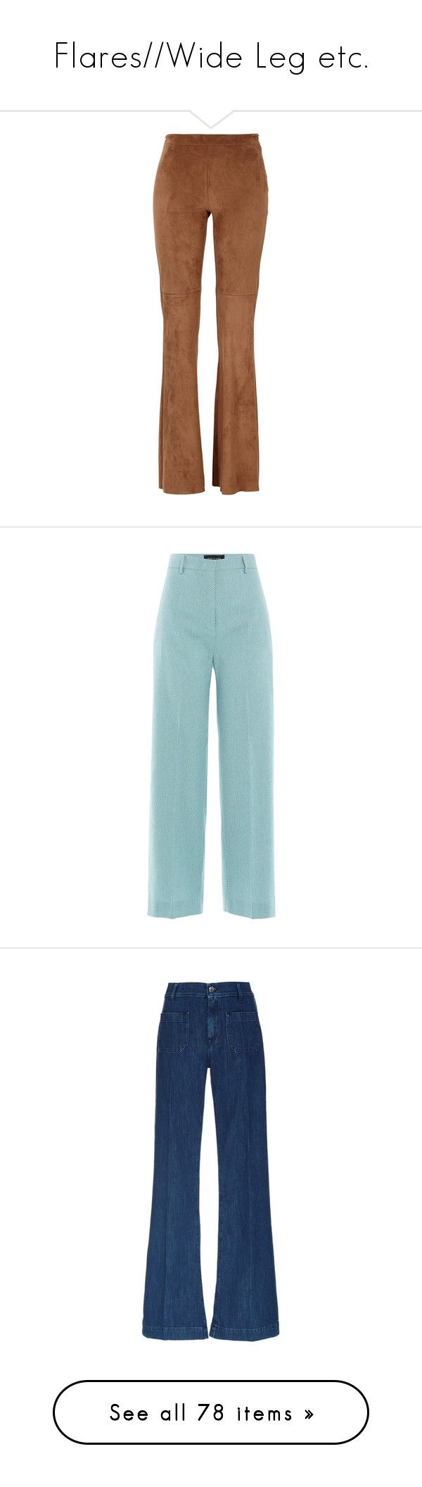 """""""Flares//Wide Leg etc."""" by darling-muse ❤ liked on Polyvore featuring flares, pants, bottoms, capris, trousers, pantaloni, teal, wide leg cropped trousers, high waisted wide leg trousers and blue high waisted pants"""