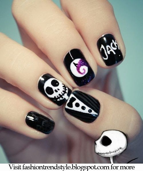 Halloween Easy Nail Art Video Tutorials 2 | fashiontrendstyle.blogspot.com
