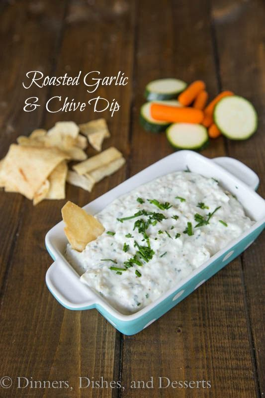 Sweet roasted garlic, chives, and Greek yogurt make for a quick and easy dip.