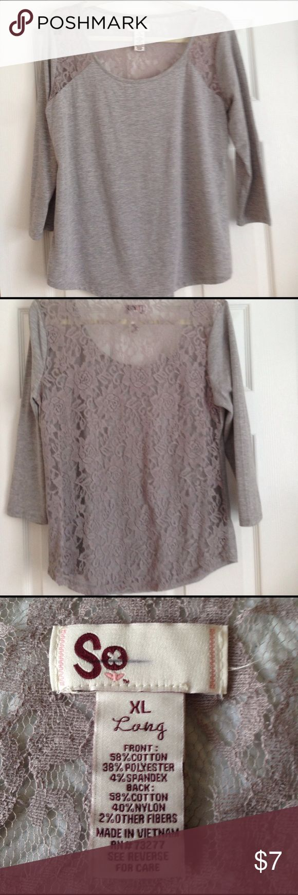 Lace Panel T-Shirt Soft grey long sleeve top with round neck and lace back and shoulder panels Tops Tees - Long Sleeve