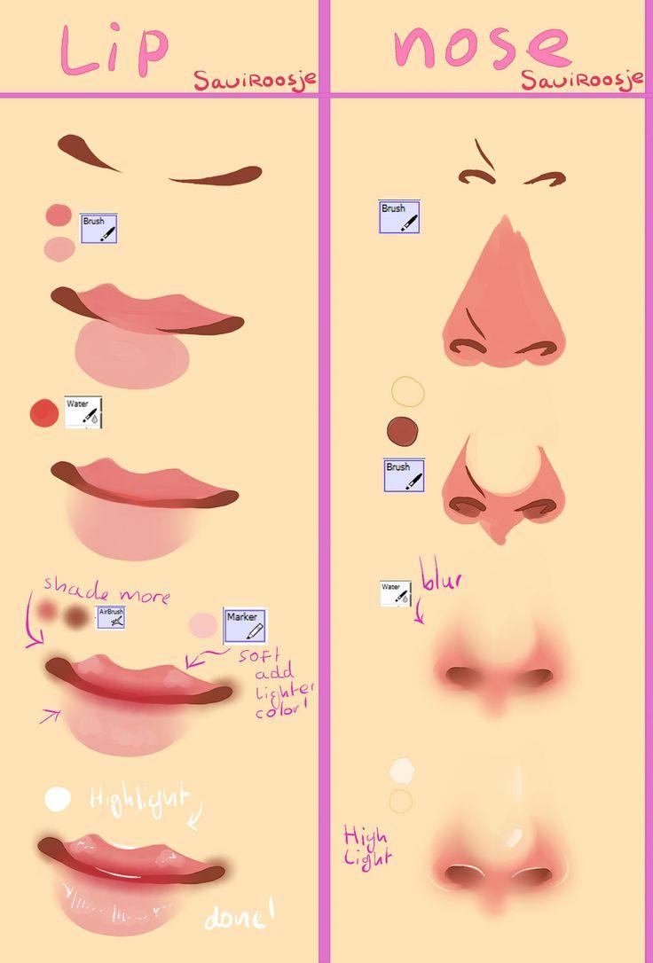 Step by Step - Lips and Nose by Saviroosje.deviantart.com on @deviantART