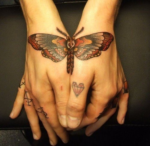 Cool butterfly tattoo(s) on the hands. #tattoo #tattoos #ink