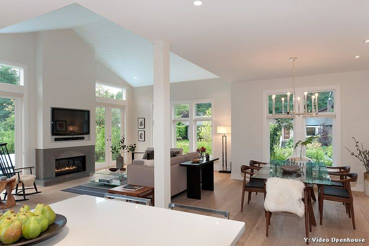 Electric Fireplace Insert for Contemporary Family Room and Transom Windows
