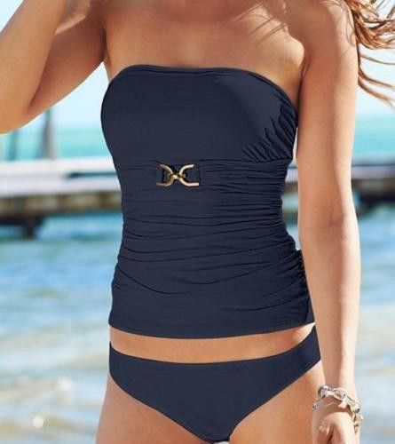 NWT MICHAEL KORS XS tankini swimsuit navy strapless bandeau 2PC flattering