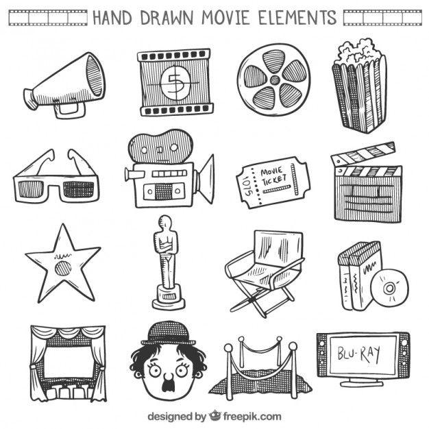 Colección del elemento película doodle