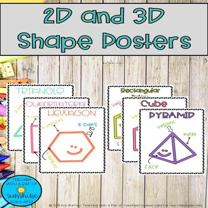 2d and 3d Shape Posters 2d, 3d shapes, Shape posters, Shapes