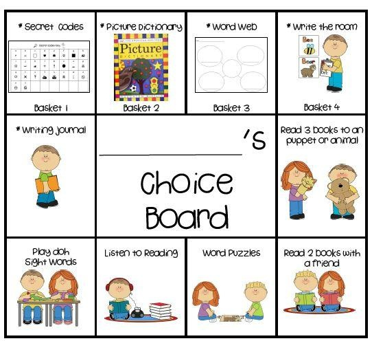 Daily 5 Choice Boards product from KookyKindergarten on TeachersNotebook.com