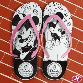 Chinelo Personalizado para casamento - Mickey e Minie Noivos. www.rosapittanga.com.br