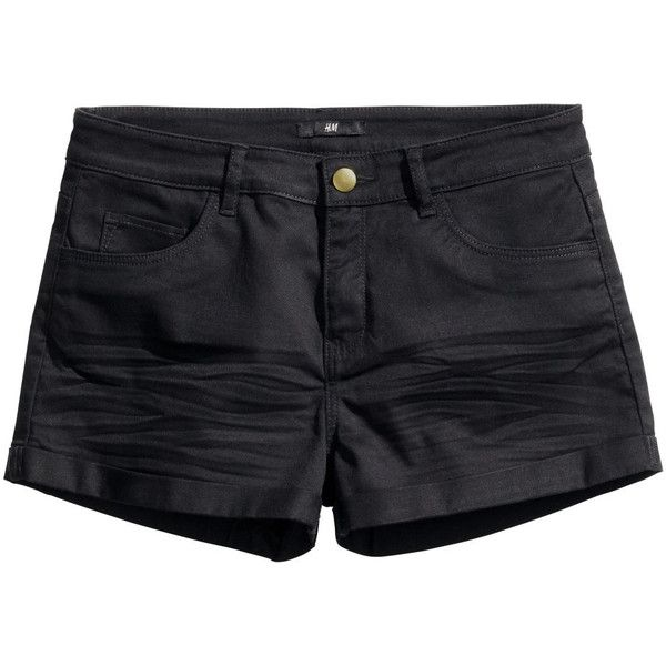 H&M Short twill shorts ($12) ❤ liked on Polyvore featuring shorts, bottoms, black, h&m, short, slim fit shorts, h&m shorts, black short shorts and twill shorts