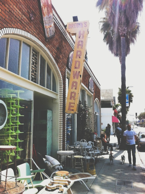 Abbot Kinney Bvd in Venice. There's tons of boutiques, it's very hipster, and there's a few great places to eat