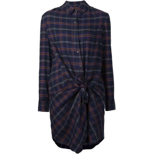 Thakoon Addition tie detail plaid shirt dress ($680) ❤ liked on Polyvore featuring dresses, blue, cotton shirt dress, long shirt dress, tartan shirt dress, plaid dress and shirt-dress
