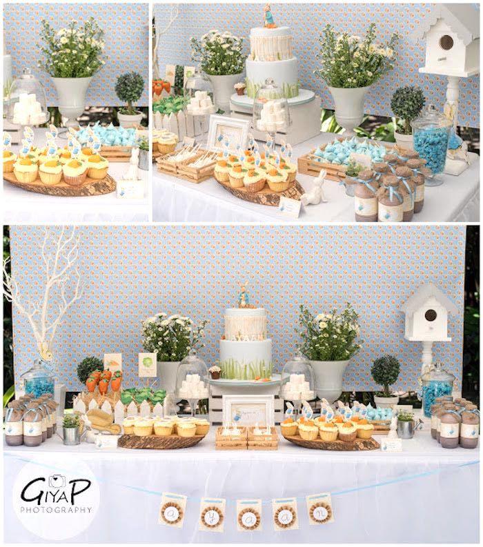 Sweet Table Details from a Peter Rabbit Birthday Party via Kara's Party Ideas | KarasPartyIdeas.com (1)
