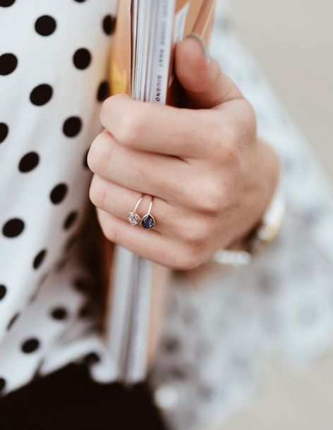 Stunning Tear Drop Gem Platinum body Ring Teamed With Rose Gold Ring Repossi Jewellry And Polka Dot Shirt Tumblr Style