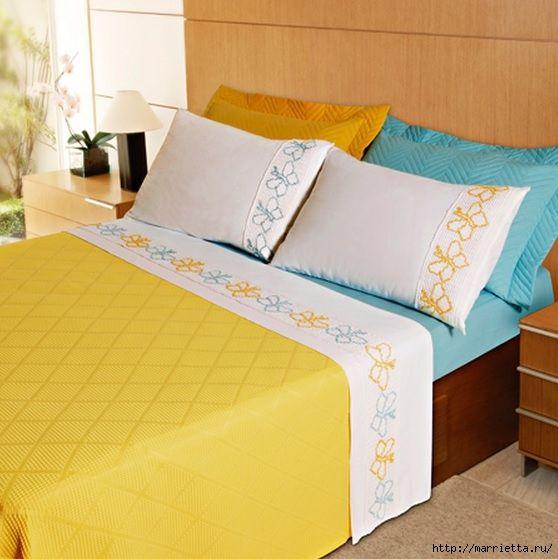 Mariposas bordado Esquema sobre la ropa de cama (4) (558x559, 171Kb)