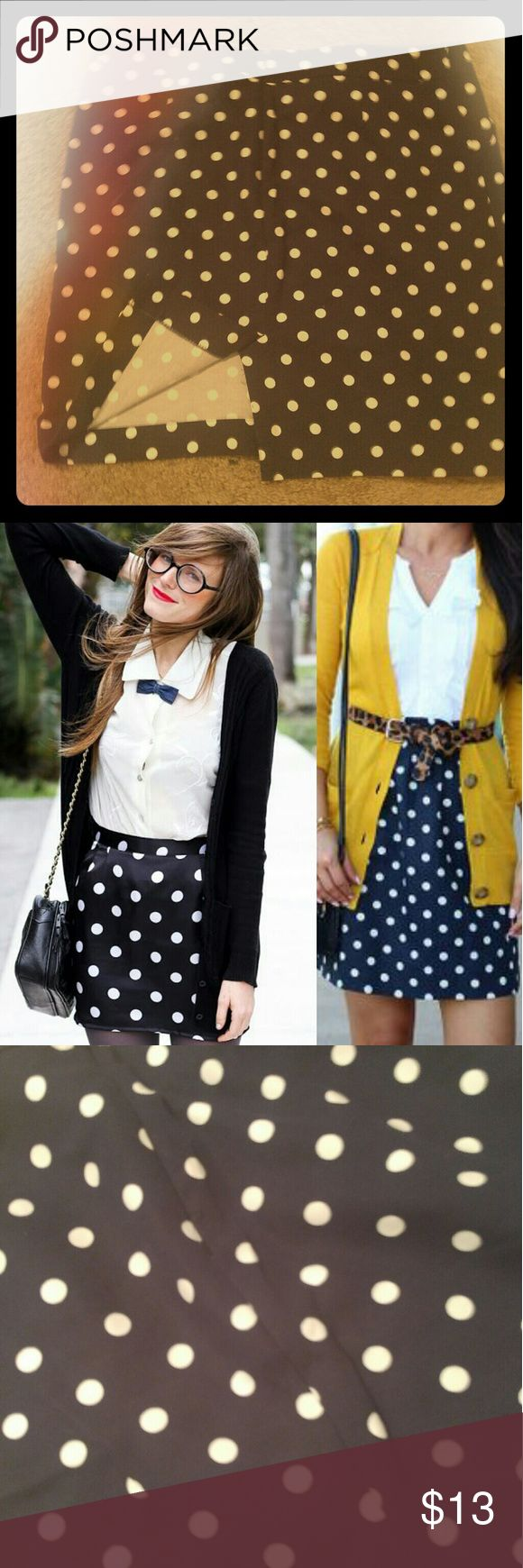 Polka dot Mini *Never worn* Fits snug for a sexy mini look. Pair with a yellow top to make a stunning outfit! Merona Skirts Pencil