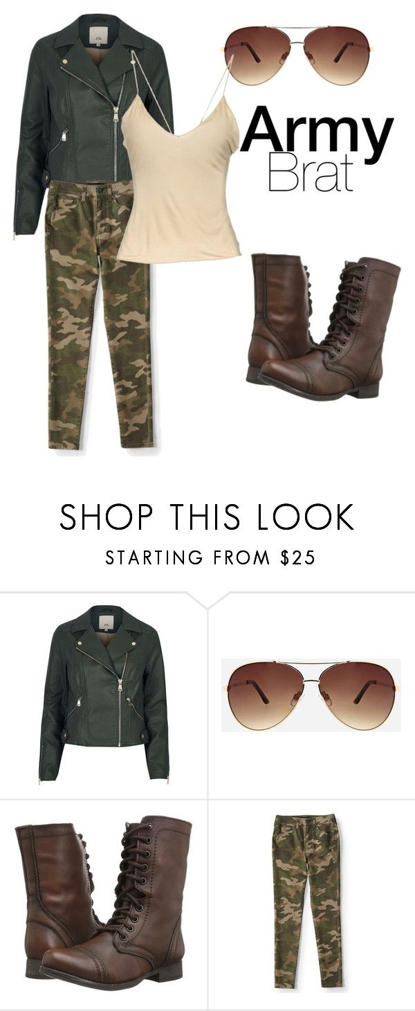 """Army Brat"" by fashionavecfinesse ❤ liked on Polyvore featuring River Island, Ashley Stewart, Steve Madden, Aéropostale and Gucci"