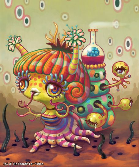"""Yoko D'Holbachie is a Japanese painter, born in Yokohama and working in Tokyo. Her art is a perfect mix of western pop surrealism and """"traditional"""" kawaii characters, in a psychedelic palette of colors.    In her creatures you can feel the inspiration coming from one of her favourite artists: Jim Woodring, from a japanese point of view."""