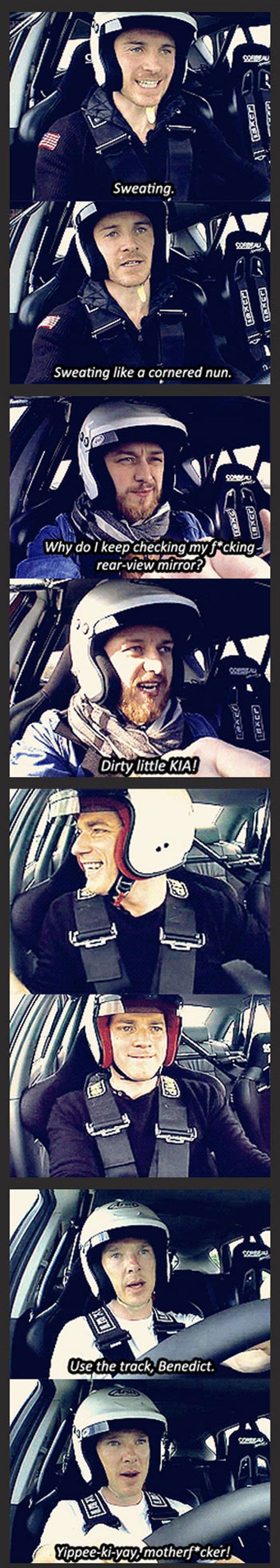 Fassbender was the best... and his reaction to his track time was classic...