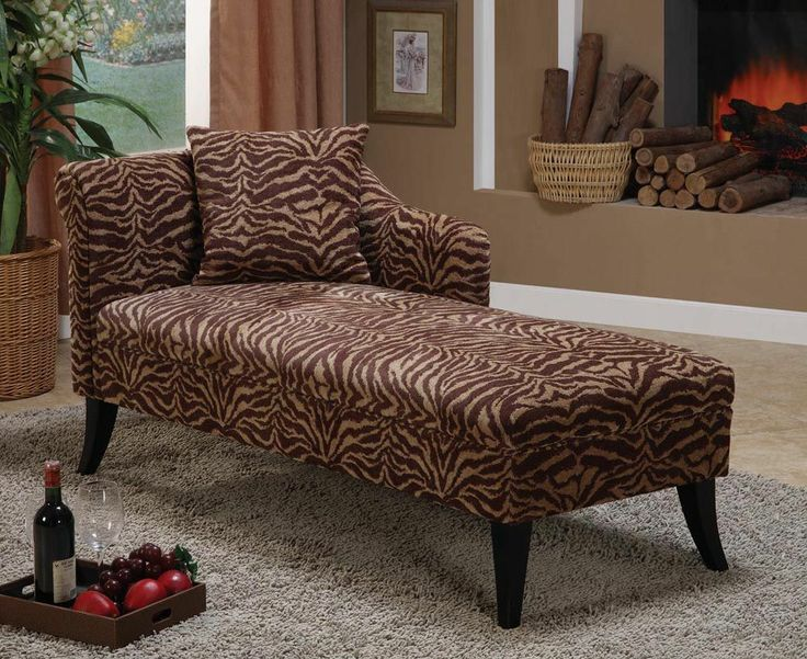 Armen Living Patterson Tiger Print Chenille Chaise Lounge omfg I need it ! : zebra print chaise - Sectionals, Sofas & Couches