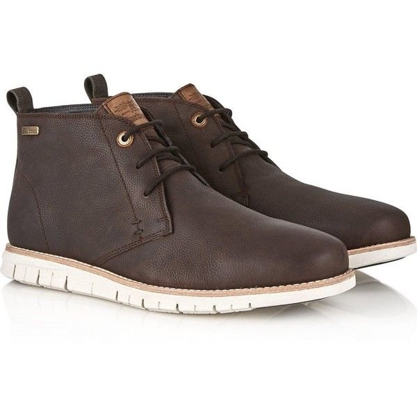 Barbour Schackleton Leather Chukka Boots featuring polyvore, women's fashion, shoes, boots, ankle booties, brown, brown chukka boots, leather ankle booties, brown leather booties, lace up booties and brown boots