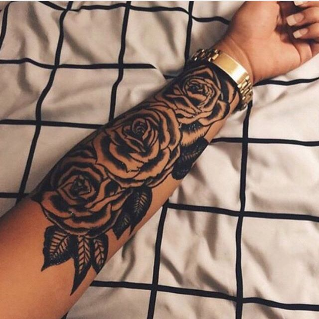 I love rose tattoos! I would like to have one rose for every family member. I just love roses for their beauty and scent. To me roses stand for love and appreciation. This one is done perfectly! #tattoo #roses #arm