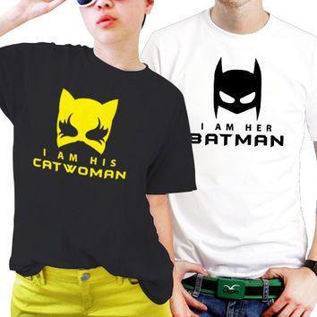 "Couple T-shirts set ""Batman and Catwoman"" set of 2 couple T-shirts Batman Tshirt Catwoman Tshirt set of 2 couple shirts 100% cotton"