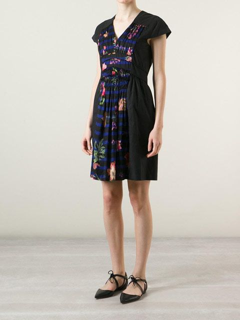 Sonia By Sonia Rykiel : Stripe And Floral Panel Dress