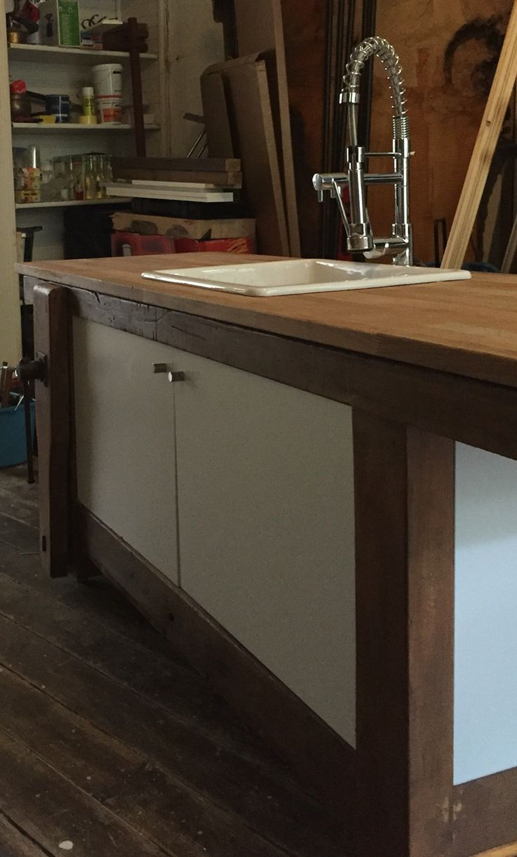 Kitchen Made from Carpenter's Work Bench by: Roberto van den Berg
