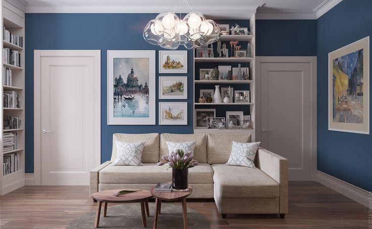 Стеллаж за диваном зрительно выбравнивает перепад стены и служит местом хранения памятных мелочей.