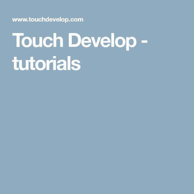 Touch Develop - tutorials