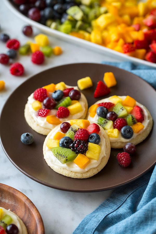 Sugar Cookie Fruit Pizzas (Chewy Version) ~ Individual mini fruit pizzas. Chewy sugar cookies are topped with cream cheese frosting and loaded with fruit for a delicious treat everyone will love!