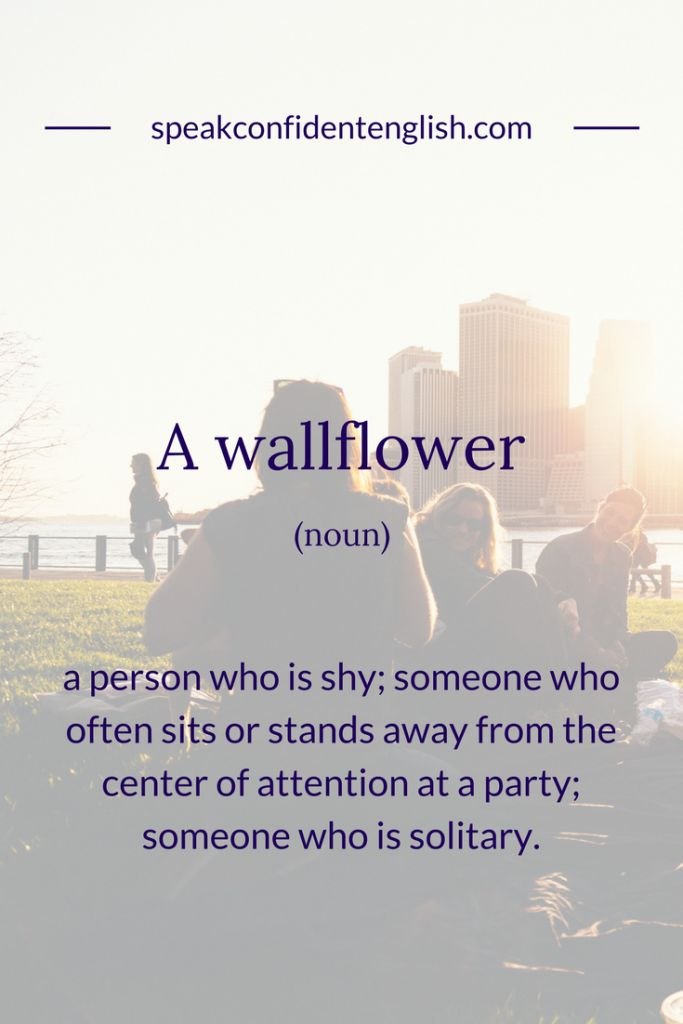 English Vocabulary. Do you know anyone you would describe as a wallflower? Get more useful language for how to talk about personalities in English at https://www.speakconfidentenglish.com/describe-your-personality-english/?utm_campaign=coschedule&utm_source=pinterest&utm_medium=Speak%20Confident%20English%20%7C%20English%20Fluency%20Trainer