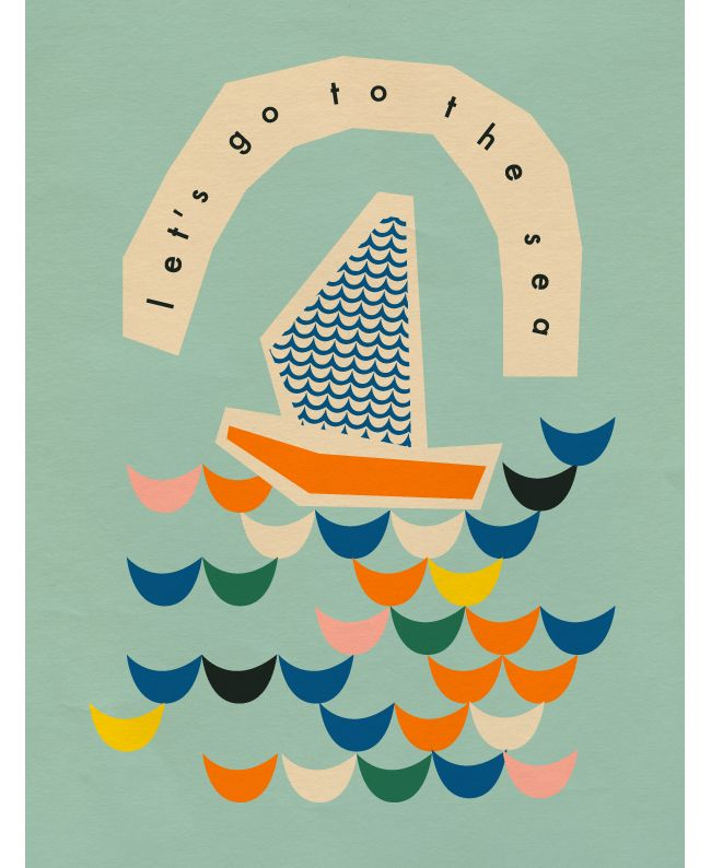 Let's go to the sea! Flat illustration in blues, mint and lemon colors.
