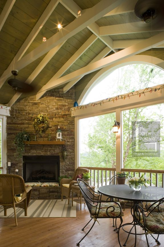 Nashville screen porch with exposed rafters by The Porch Company