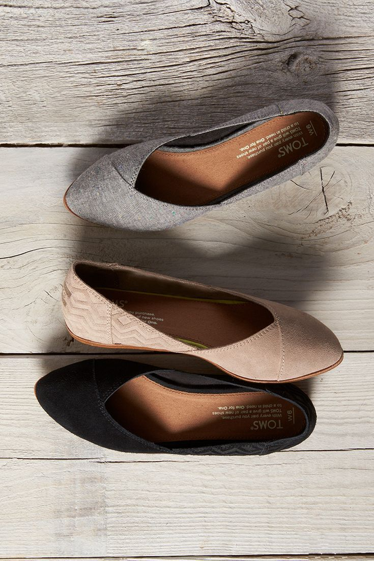 Embossed, suede or chambray. Slip on some comfortable TOMS Jutti Flats.
