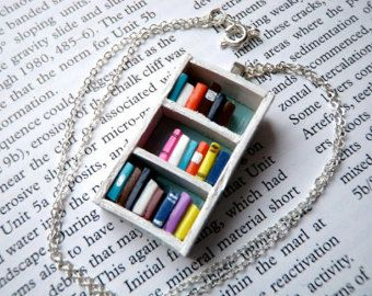Love to read? Love someone who reads? Here is a perfect gift for the book-lover in your life!  I make these necklaces from wood and polymer clay.