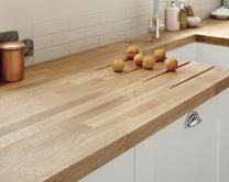 A traditional Oak Block solid wood kitchen worktop. Made with natural wood which means every worktop is unique. Available in two sizes.