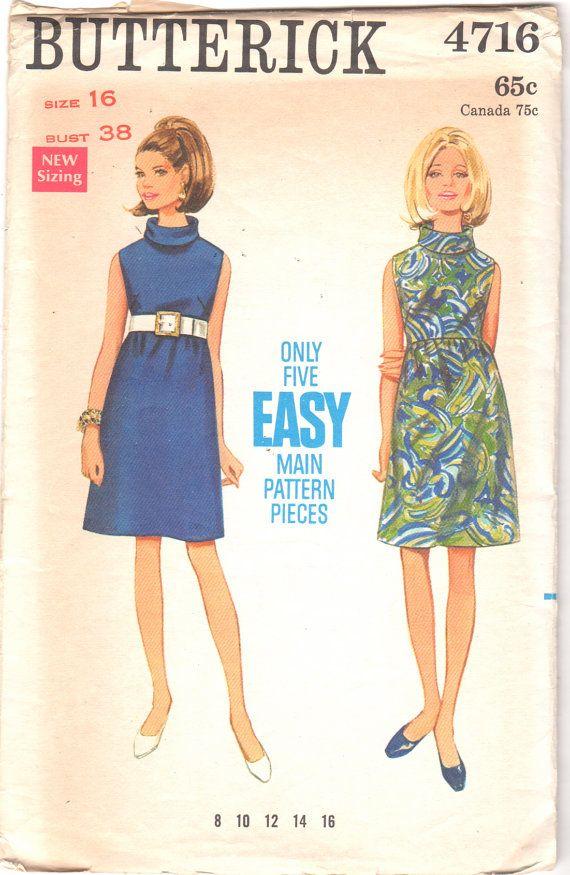 Cartamodelli anni sessanta 4716 Misses Mod linea A vita alta abito modello Roll collare Womens Vintage Sewing Pattern taglia 16 busto 38 UNCUT