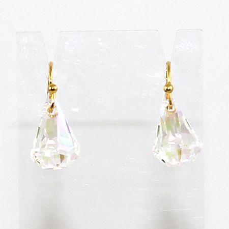 Swarovski Raindrop Earrings - Crystal AB - Gold