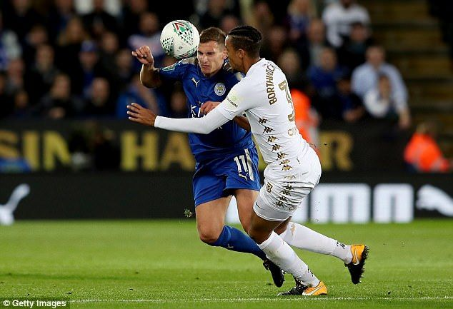 Marc Albrighton and Cameron Borthwick-Jackson compete for a loose ball in the air