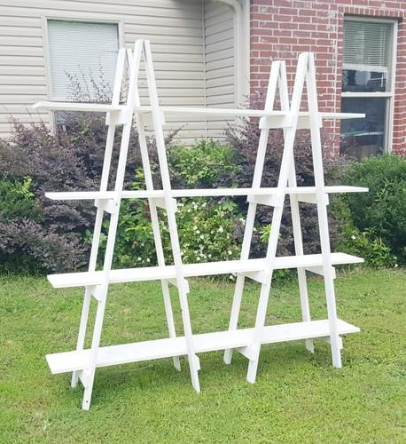 6 Foot Double Ladder With 4 Shelves Home Decor Wood