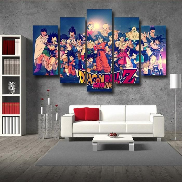 Dragon Ball Z Family Saiyanjins Warriors Classic 5pc Canvas Prints Wall Art Dbz Dragonball Anime Dragon Ball Decor Wall Art Canvas Prints Dragon Ball Goku