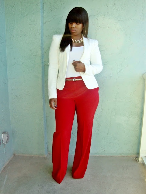 White Blazer, White Top and Red Pants