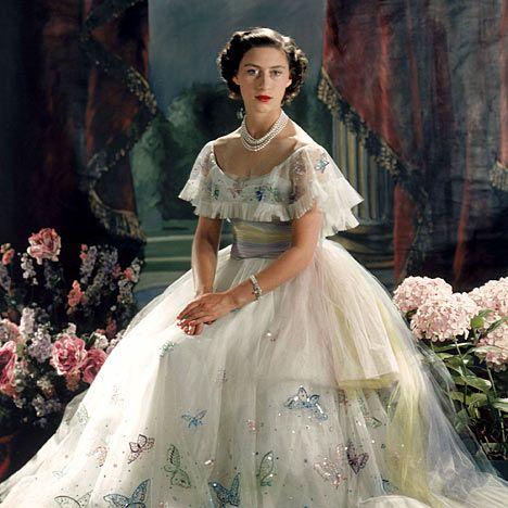 This colour study of Princess Margaret was taken in 1949, when she was age nineteen. Stunning dress!