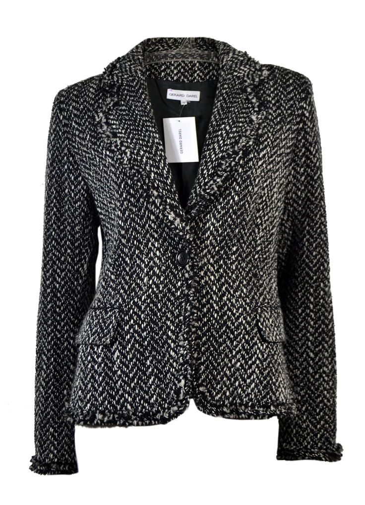 ♥ GERARD DAREL ♥ VESTE CHINEE LAINE VIERGE NOIR / BLANC T. 40 via LES COCOTTES. Click on the image to see more!