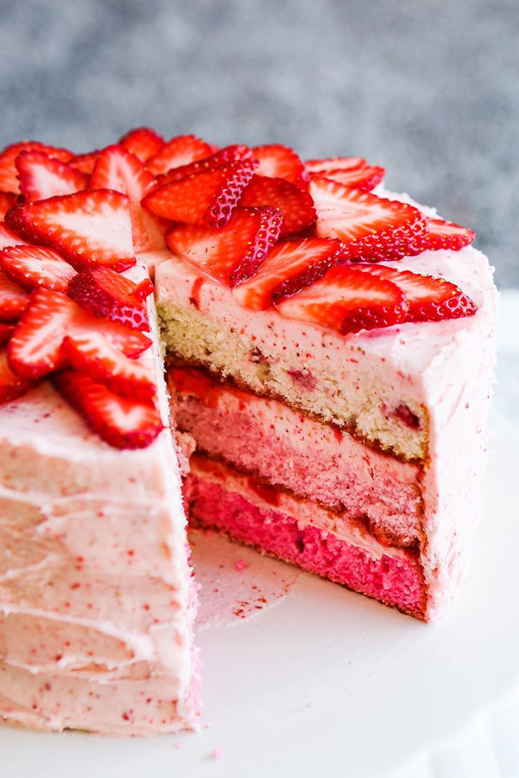 Erdbeeren Rezepte Kuchen Strawberry Layer Cake With Strawberry Frosting