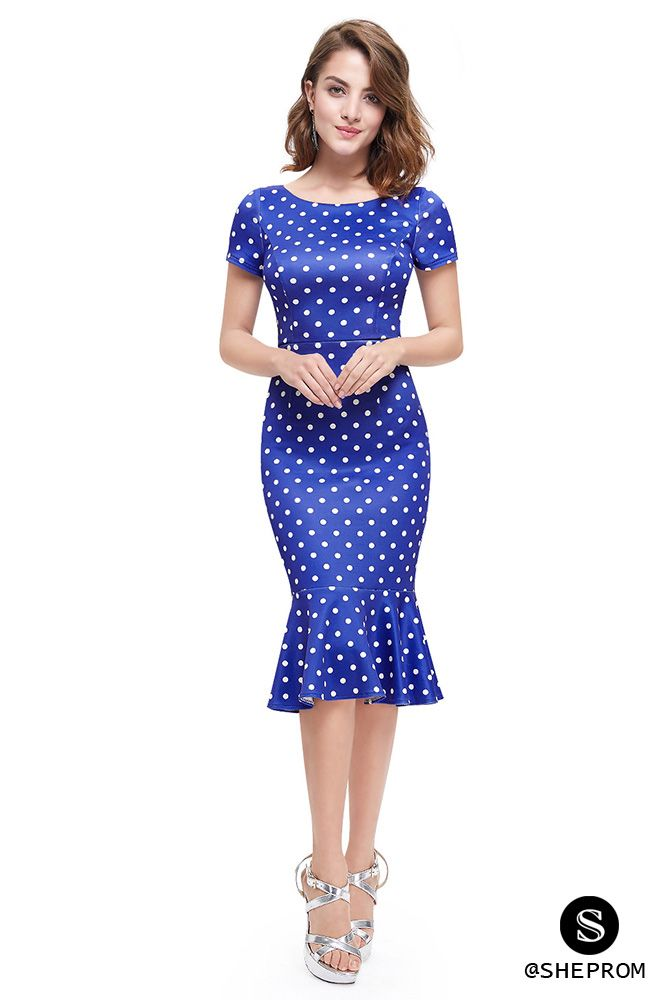 Vintage short blue dotted bodycon dress