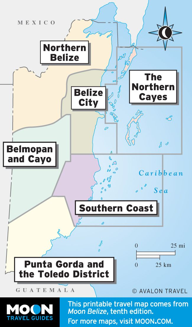 Regional breakdown of Belize maps.  Printable